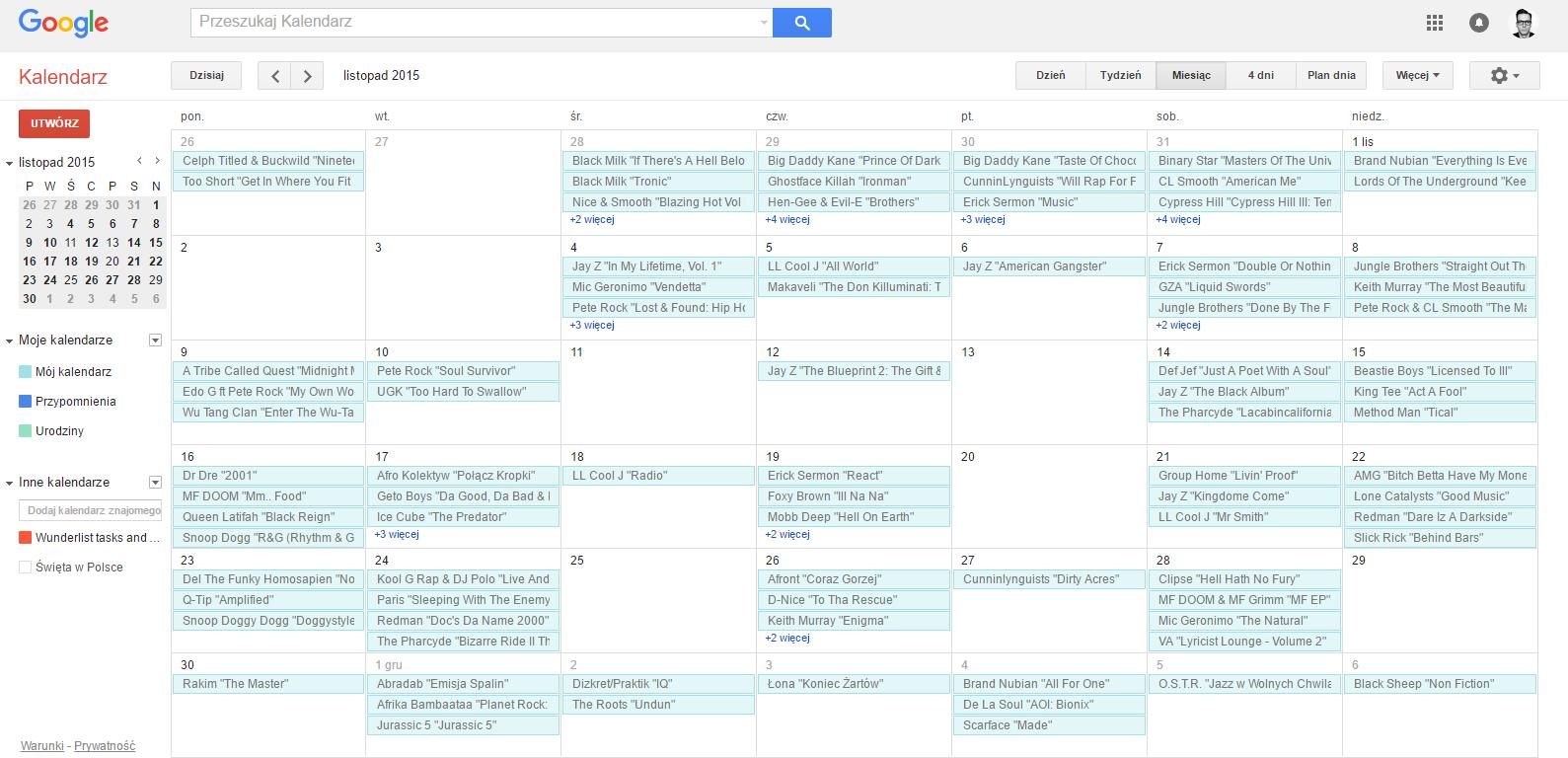 Dla przykładu: tak wygląda u mnie listopad. Całkiem nieźle się prezentuje.